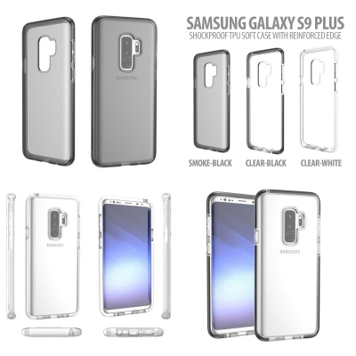 Samsung Galaxy S9 Plus - Shockproof TPU Soft Case with Reinforced Edge }