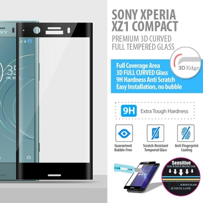 Sony Xperia XZ1 Compact - PREMIUM 3D Curved Full Tempered Glass